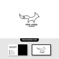 Fox outline line art monoline logo vector icon - Vector, Free Business Card Mockup