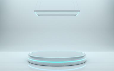 Futuristic pedestal for display, Platform for design, Blank podium for product. 3d rendering - Illustration Wall mural