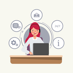 Character of businesswoman in Call center job. Animation scene for motion graphic.