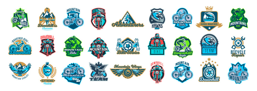 Set of emblems cyclist, mountain bike, eagle, wings, wheels, repair of transport, sport bicycle, racer, jump, downhill, mtb, bmx, race, extreme, hawk. Colorful collection, vector illustration