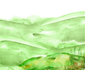 Watercolor green hill, hillock, grass. Summer landscape on white isolated background. Wild field plants, herbs, flowers. Watercolor illustration, banner, logo.