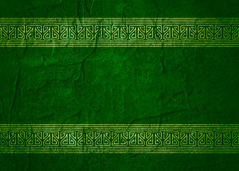 St. Patricks Day greeting card template. Concrete textured green background. 3D rendering