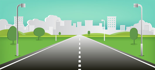 Road to nature backgroud vector illustration.Street with field , hills , clouds , trees  in Paper style vector illustration.Beautiful nature landscape.Cityscape scene.Green street to town.