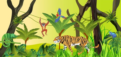 Horizontal banner jungle theme illustration with animals background. Tropical floral frame with blue sky. Design template