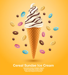 Cereal Sundae Soft Serve : Vector Illustration