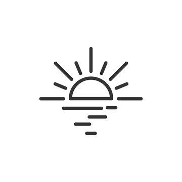 Sunrise, sunset linear icon isolated on white background