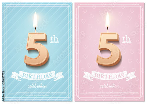 Burning Number 5 Birthday Candle With Vintage Ribbon And Celebration Text On Textured Blue Pink Backgrounds In Postcard Format