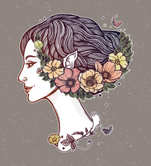 Portret of young girl witch with flowers. Magic forest nymph, mysterious character from fairy tales. Isolated vector illustration.