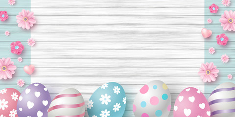Easter day design of eggs and flowers on white wood texture background vector illustration