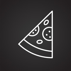 Pizza outline icon on black background for graphic and web design, Modern simple vector sign. Internet concept. Trendy symbol for website design web button or mobile app