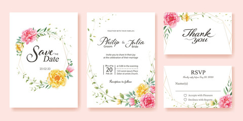 Wedding Invitation, save the date, thank you, rsvp card Design template. Yellow and pink flower, silver dollar, olive leaves, Wax flower.