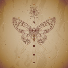 Vector illustration with hand drawn butterfly and Sacred geometric symbol on vintage paper background. Abstract mystic sign. Dot graphics. Dotted contour. For you design or magic craft.