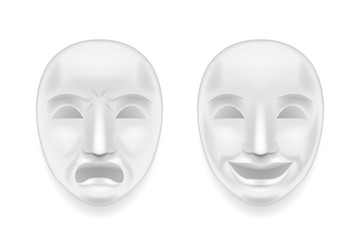 Isolated theatrical face mask sadness joy white actor play antique realistic 3d mock up design vector illustration