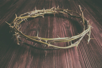Jesus Crown Thorns on Old and Grunge Wood Background.