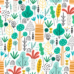 Jungle. Tropical forest seamless pattern in childish style. Different kinds of trees - hand drawn vector illustration in creative organic style. Perfect for kids fabric, textile, nursery wallpaper.