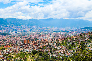 Aerial view of Latin American city in the mountains