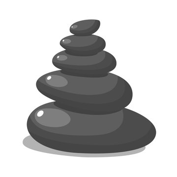 Spa stones for medical therapy, beauty and healthcare, massage and relax procedures, black heap. SPA beauty and health concept. Vector illustration in flat style