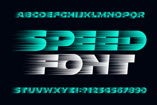 Speed alphabet font. Fast speed effect uppercase letters, numbers and symbols. Stock vector typescript for your design. Easy color change.