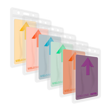 Clear plastic card holders with colored hotel keycards inside. Vertical vinyl badge sleeve envelope with zip lock and hanging slot, vector template set