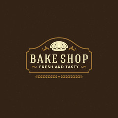 Bakery badge or label retro vector illustration.