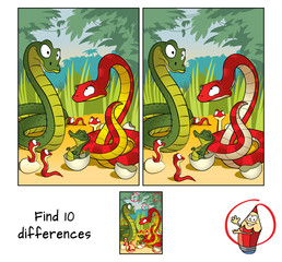 Family of snakes. Find 10 differences. Educational matching game for children. Cartoon vector illustration