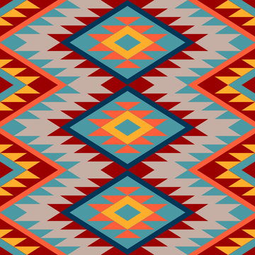 Kilim. Ethnic geometric ornament. Pattern of bright rhombuses. Seamless vector pattern.