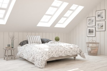 White stylish minimalist bedroom. Scandinavian interior design. 3D illustration