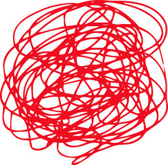 Illustration of a red circle of scribble vigorously