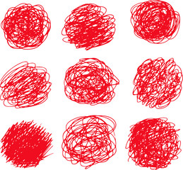 Illustration of a red circle of scribble vigorously set