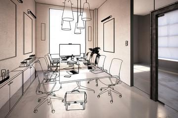 Office Design: Meeting (overview) - 3d illustration