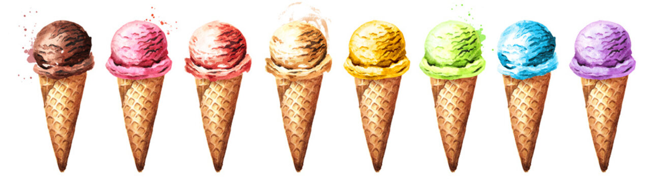 Various ice cream scoops in waffles set. Watercolor hand drawn illustration, isolated on white background