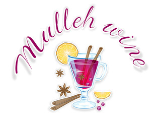 Mulled wine with orange slice and cinnamon stick, Vector Illustration.