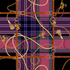 Baroque check seamless pattern with chains ad belts. Vector patch for fabric, scarf.