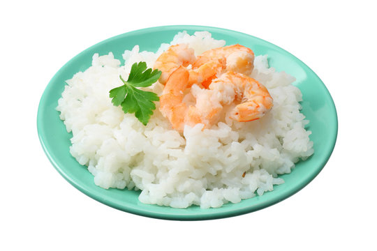White rice with shrimps in blue bowl isolated on white background