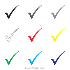 Check mark, tick, yes. Set icons with nine Color Variations of flat style. Vector illustration.