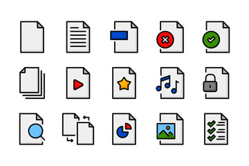 Documents and Files related color line icon collection.