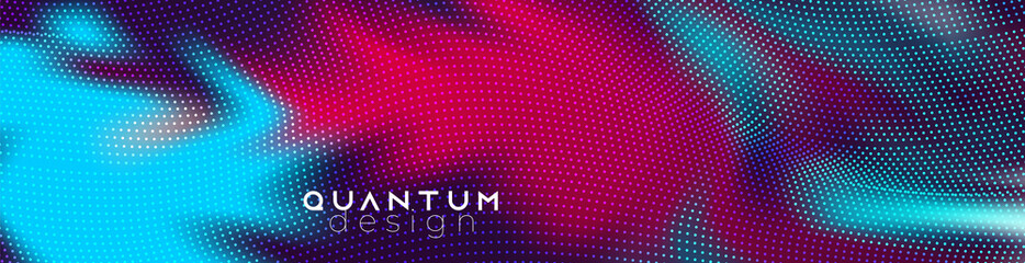 Techno  futuristic twisted dotted neon glowing waves. Big data flow concept. Abstract background vector template