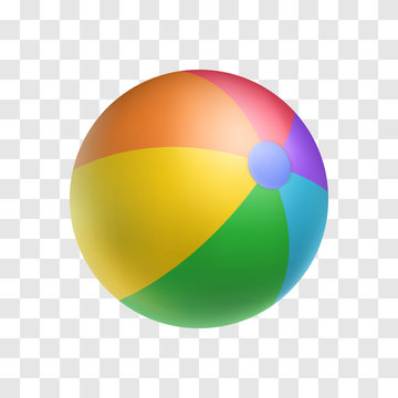 Realistic bright inflatable ball. Striped beach ball vector illustration. Children toy for active game isolated on transparent background. Sports and outdoors leisure. Multicolor rubber balloon