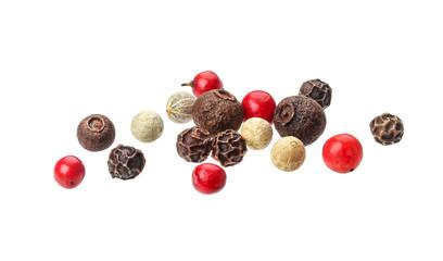 Fototapeta Pepper mix. Black, red, white and allspice peppercorns isolated on white background, close up obraz