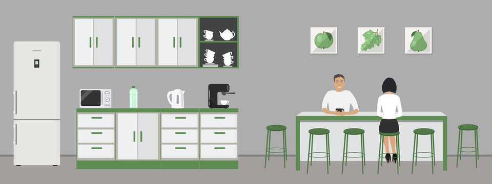 Green office kitchen. Dining room in the office. Employees are sitting at the table. Coffee break. There are kitchen cabinets, a fridge, a microwave, a kettle and a coffee machine in the image. Vector