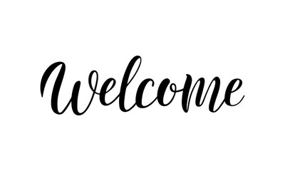 Welcome lettering logo. Welcome hand sketched sign for cards, postcards, posters, banners, badges. Vector illustration eps 10