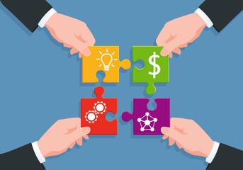 Concept du puzzle pour illustrer le processus de fabrication d'un produit, de la création au réseau de distribution, en passant par la réalisation et le financement en dollars.