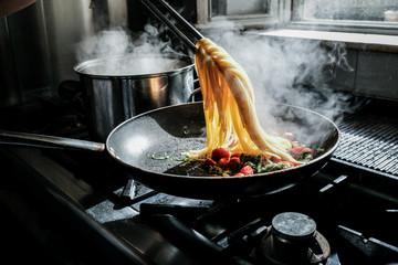 Cooking delicious spaghetti