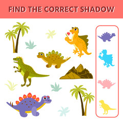Cute little dinosaurs and palms. Find the correct shadow. Educational matching game for children. Game tasks for attention.