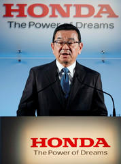 Honda Motor Chief Executive Takahiro Hachigo speaks at a news conference in Tokyo