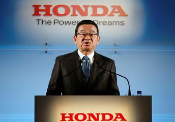 Honda Motor Chief Executive Takahiro Hachigo speaks at a news conference in Tokyo