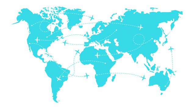 World map with airline routes. Silhouette of world map with icons of airplanes. International flights. Dotted line air path. Vector illustration