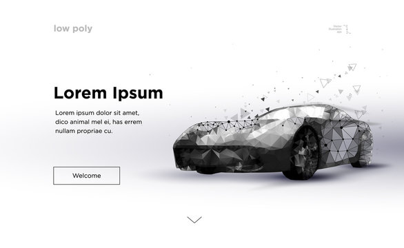 Smart or intelligent car. Sport car with polygon line on abstract background. Polygonal space low poly with connecting dots and lines. Speed concept background