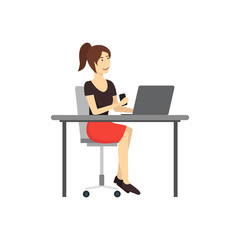 Cartoon Character Woman Works at the Computer. Vector