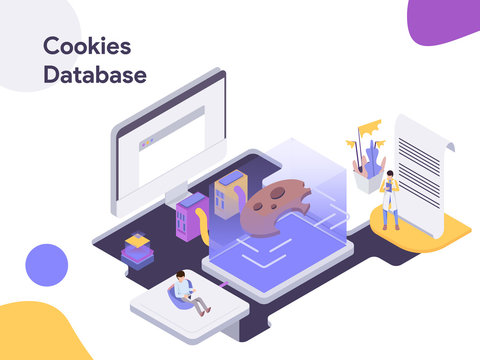 Cookies Database Isometric illustration. Modern flat design style for website and mobile website.Vector illustration